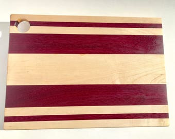 Cutting Board-handmade with maple and purple heart hardwoods