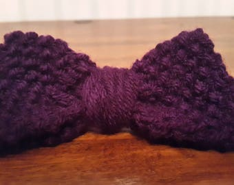 Purple Knitted Bow Hair Clip
