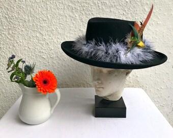 Bespoke design black wool wide brimmed hat