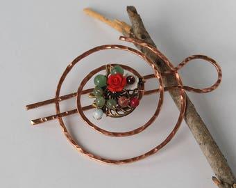 Hair Clip Hair Bun Holder Boho Bun Pin Bun Cover Metal Hair Slide Hair Ring Copper Hair Pin Hair Accessories Chignon Pin for Thin Hair Women