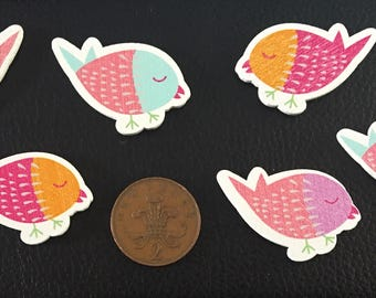 6 wooden bird embellishments