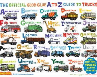 The Official Good Glue A to Z Guide to Trucks Poster!