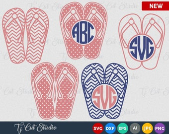 Summer Flip Flops SVG, Summer Monogram Svg, Summer SVG Files, Flip Flop SVG Files
