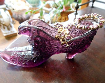 Purple Fenton Glass Slipper with Vintage Brooch & Earrings