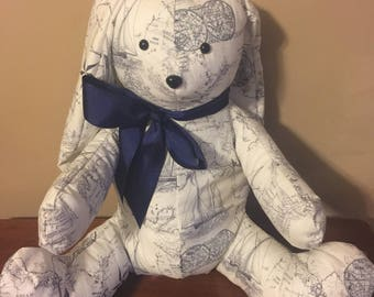 Blue/White Nautical Print Stuffed Animal,  Bunny Rabbit with Bow