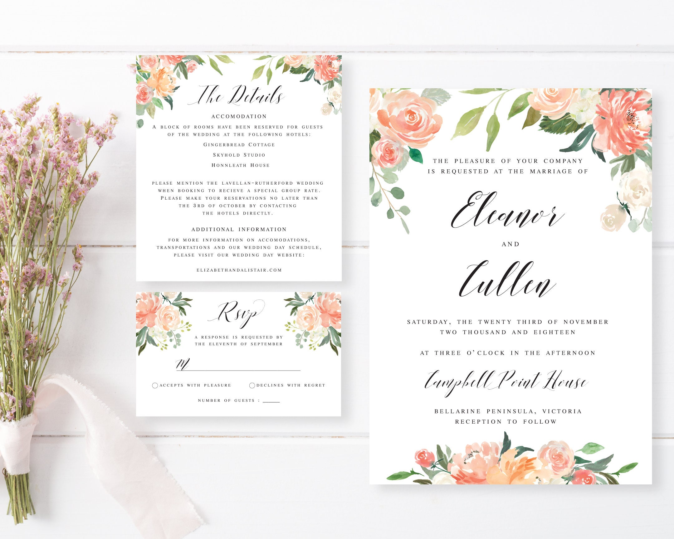 Printable Engagement Invitation | Romantic Watercolour Floral ...