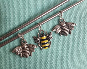 Set of 3 bee stitch markers