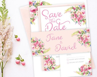 Floral Wedding Invitation with RSVP and Band - Spring Summer Wedding Card - Sample