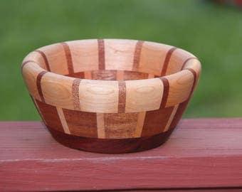Beautiful segmented wood bowl, Maple, Sapele and Padauk, handturned, handcrafted, FREE SHIPPING