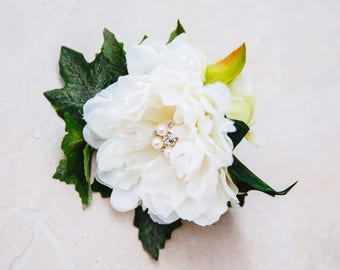 Constance White Silk Artificial Peony Buttonhole
