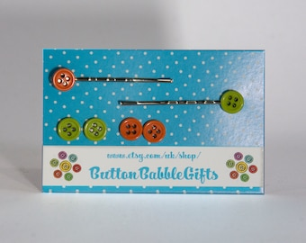 Set of BUTTON EARRINGS and Bobby Hair Pin Grips in Orange and Green Butterfly Back HYPOALLERGENIC Jewellery, ButtonBabbleGifts