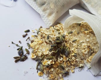 Lavender and Oat Bath tea, 3 bath teas, Relaxing and Soothing, Tub tea, Epsom Salt, Handmade, Natural Essential oils