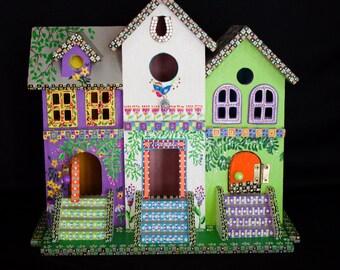 TRIPLE CONDO Highly Decorated BIRDHOUSE