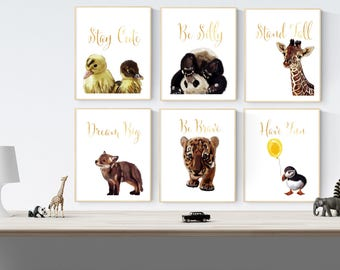 Hand drawn animal children room quote art  print set of 6 A4 size hand drawn print