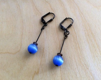 Glass earings, yellow, blue, drop earrings, birthday gift