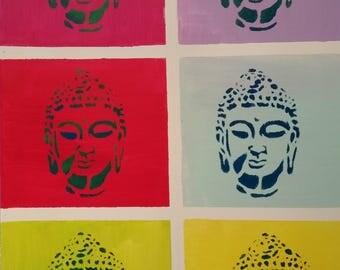 colorful Buddahs, contemporary art, acrylic, painting, abstract, colorful, yoga, meditation, 70 x 90 x 1, 5 cm