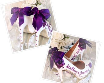 personalised wedding shoes Bridal Heels, Bride, white,purple,pink,blush,blue,gold,silver