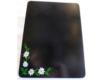Hand Painted Blackboard / Chalkboard, with Daisies, Magnetic Back Great for Fridge / Kitchen 2c