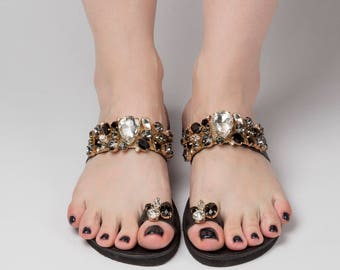"30% OFF Greek sandals ""Ekati""\Luxury sandals\Swarovski shoes\Crystal shoes\Black leather sandals\Custom slides\Summer slides\Free shipping!"