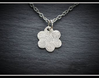 Silver Speckled Flower Pendant - Silver Precious Metal Clay (PMC), Handmade, Necklace - (Product Code: ACM063-17)