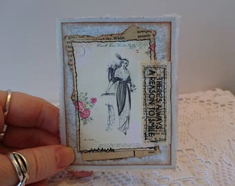 Handmade card, vintage, shabby chic