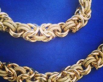 Gold Look Choker & Bracelet Set - Vintage Choker Necklace - Vimyage Bracelet