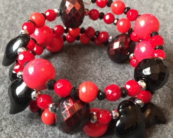 Unique Hand made black & red beaded multi strand bracelet using vintage and modern elements