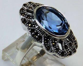 Vintage London Blue Topaz Marqasites 5.00 Cts Beautiful Gem Size 9 Sterling New