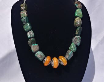Turquoise and Carnelian Nepalese beads- strong woman necklace