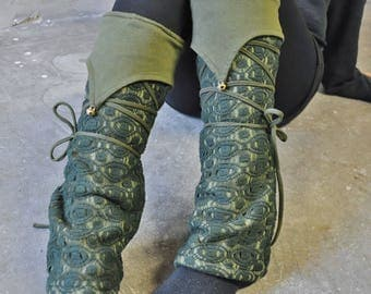 Warmly Lined Leg Warmers, Boot Cuffs ~ with Lacing and Brass Bells ~ Cotton, Fleece ~ dark green, forest green