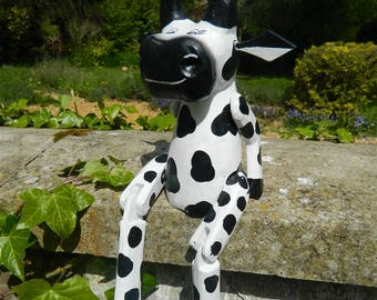 Wooden Cow Carving - Sitting Shelf Sitter Cow Ornament - Cow 25cm
