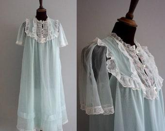 1960s Palest Blue Nightgown / Vintage Nightie