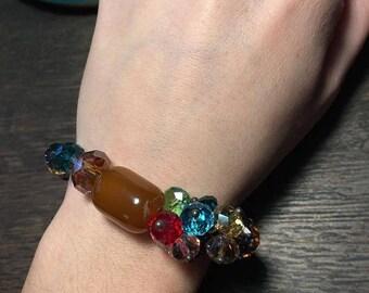 Brown Crystal Beaded Stretch Bracelet