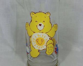 "Vintage 80's collectors Care Bear ""Fun Shine Bear"" glass"