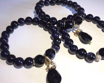 Blue aventurine bracelet with black glass crystal, Natural stone 10 mm