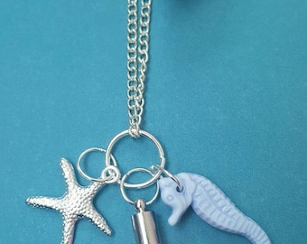 Beach style necklace with Tassel, Seahorse and Starfish