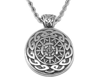 Viking Helm of Awe / Terror (Icelandic magical stave sigil) Pendant Necklace with Chain