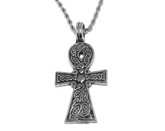 Celtic Knotwork Ankh Pendant Necklace with Chain