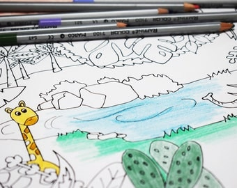 Coloring page for kids,Jungle coloring page,Coloring page,Kids color sheet,Kids activity,creative kids,children coloring,instant download