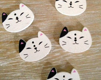 Cat buttons, 5 cute cat wooden buttons, two holes