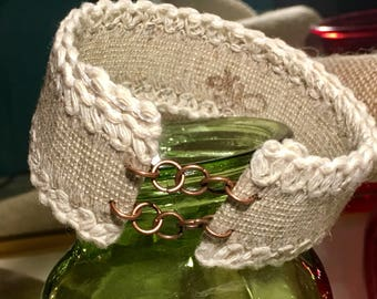 Cotton trimmed khaki ribbon Kismet cuff bracelet, with dark cooper jump ring accents... When will you get your Kismet on?