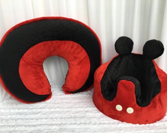 Micky Mouse Inspired Boppy Pillow Cover and Bumbo Chair Cover Red and Black Minky
