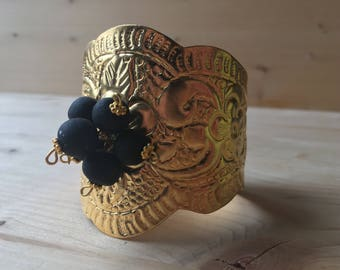 Bracelet-gilded oriental bracelet with Ambraperlen