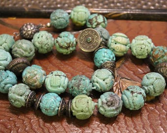 Antique Chinese Turquoise Carved Beads Necklace