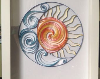 Quilled sun and moon visual art wall decor