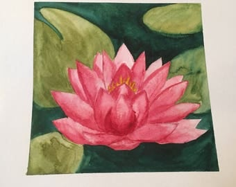 Watercolor Water Lily