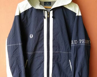 Vintage Fred Perry Spell out Big Logo Hoodie Jacket Rare