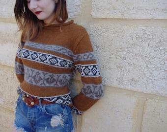 Vintage Patterned Wool Jumper