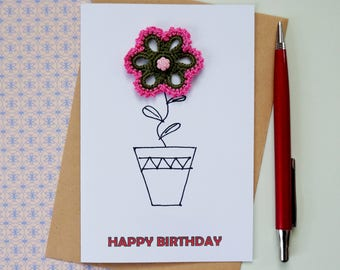 Floral birthday card for sister birthday gift Happy birthday card for mother in law card Birthday card friend birthday card Flower pot