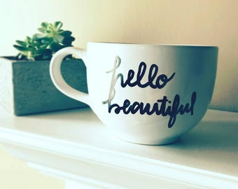 HELLO Beautiful Ceramic Mug, can be customized!